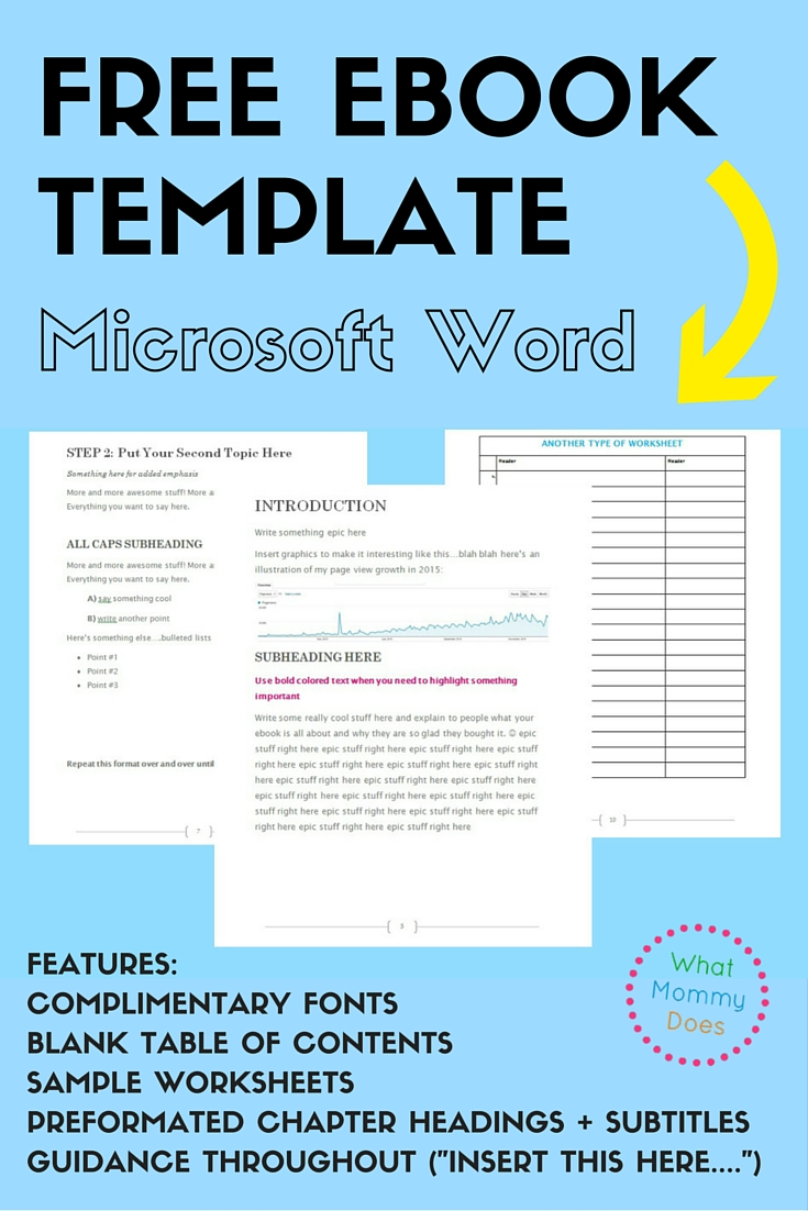 Writing the content for an ebook is hard enough. Deciding on the layout, cover image, fonts, etc? Excruciating! I agonized over this stuff when I created my ebook….here's a free ebook template that's a boiled down version of my book so you can make an ebook way faster than I did. Just insert all of your content into the template, and you're ready to save as a PDF to distribute! It's really that easy!