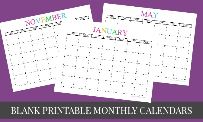 Free Printable 2016 Monthly Calendar