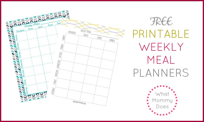Free Printable Weekly Meal Planning Templates And A WeekS Worth Of