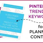 Just for Bloggers! July & August Pinterest Keywords