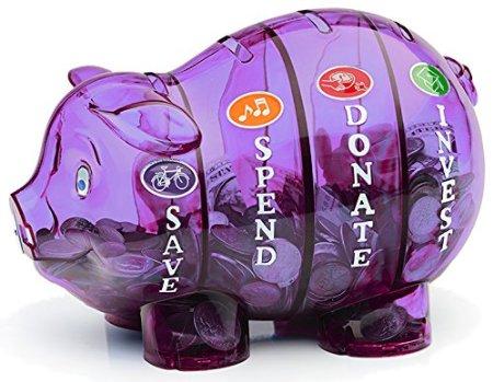 This piggy bank teaches kids about money!