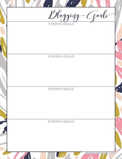 planner blogging goals image
