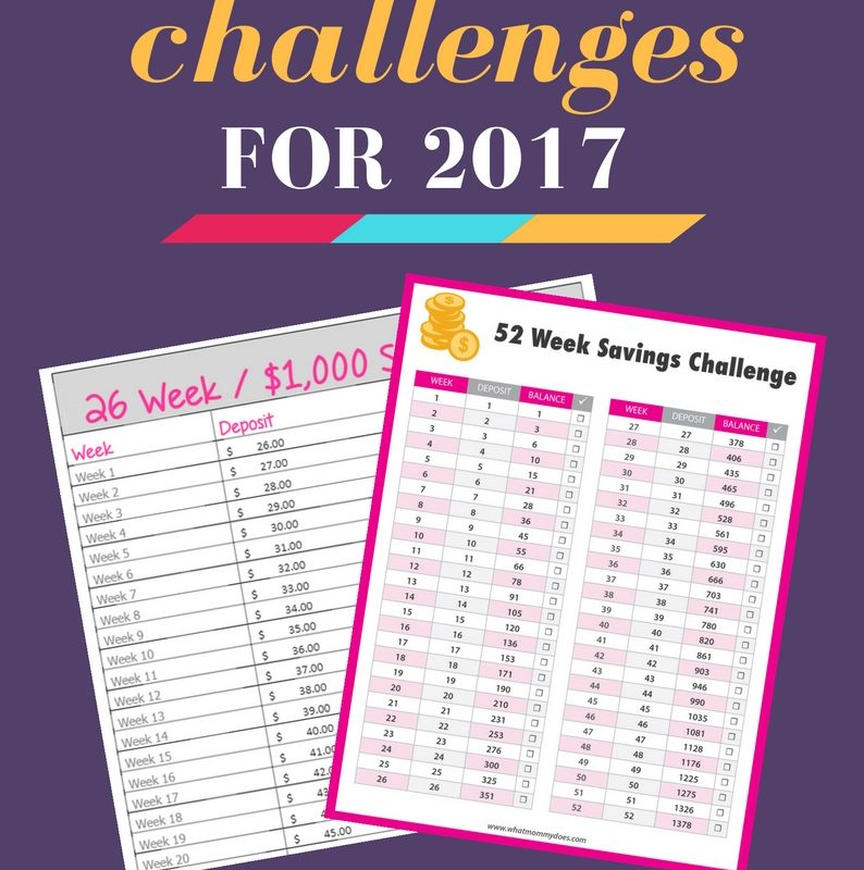 Take these MONEY SAVING CHALLENGES in 2017! This includes free printable 52-week money saving challenge, a 26-week money saving challenge to help you save $1,000 and more. These are fun ideas to help you save money for Christmas or anything else! One chart starts with $1 and ends with $52. You'll end up with $1,352!!! The charts make it super simple to achieve your savings goals.   2017 money ideas, 2017 goals, money saving ideas