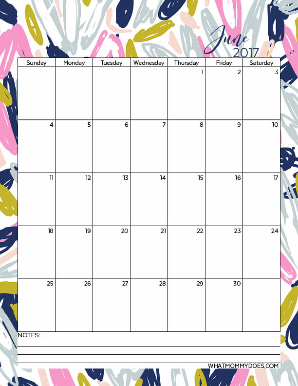 Cute Floral Design June 2017 Calendar - Perfect for blogger schedules, teacher lesson plans, and students.