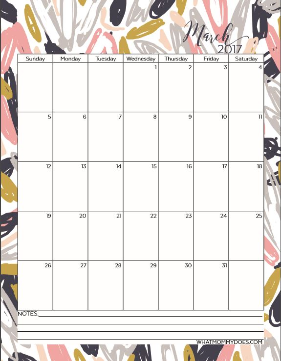 March 2017 Calendar Template - pretty floral design in a portrait layout. Prints on a full size sheet of paper.