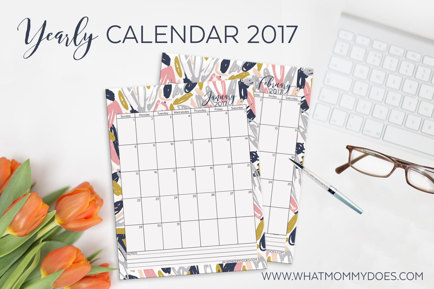 Need a full 12-month 2017 calendar? Here's one you can download & print all in one file. Opens in PDF format so you can save it to your computer. I love the pretty hues of pink, gold, and grey.