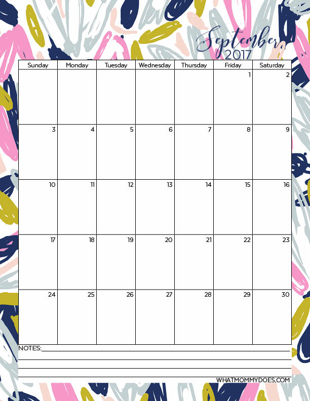 September 2017 Calendar Template - These are super cute! Grab the free annual calendars to print out from WhatMommyDoes & make sure to repin for later reference!