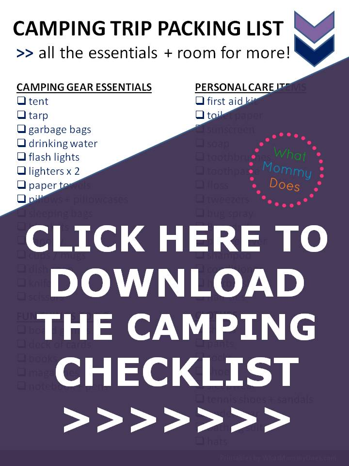 With this packing list, you will be SUPER PREPARED for your next camping trip! It lists all the essentials to bring with you for the weekend so you can relax + have a good time....from camping gear to first aid items. I would have forgotten some of these things! This girl goes camping a lot with her kids so she knows what she's talking about... WEEKEND FAMILY CAMPING TRIP CHECKLIST (PDF) TO DOWNLOAD | family camping tips & ideas series, free printable packing list