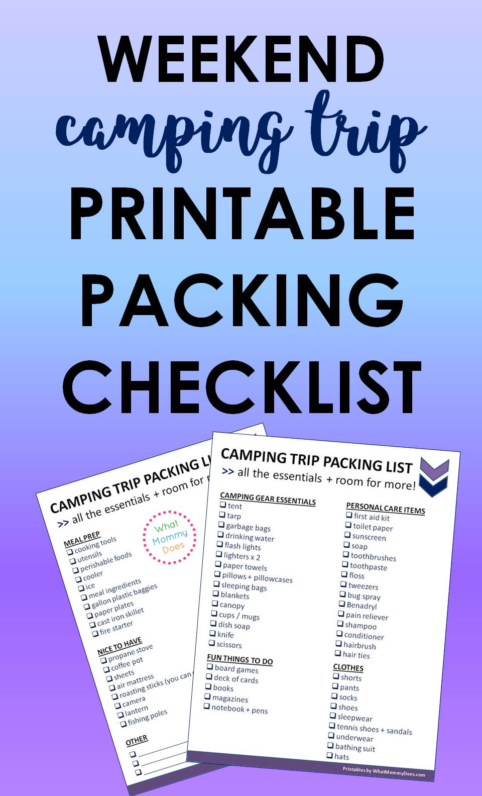 image about Rv Packing List Printable known as Printable Tenting Holiday vacation Record - Fundamental principles toward Pack for