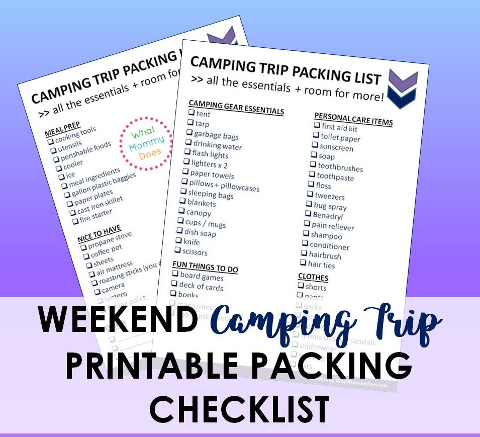 photograph relating to Rv Packing List Printable titled Printable Tenting Getaway List - Principles in the direction of Pack for