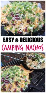 As far as camping recipes go, this is THE BOMB!!! You can make ALL KINDS of things at a campsite, including amazing nachos! Everybody loved these. The recipes is so easy to make in a cast iron skillet, dutch oven, or foil pan for simple clean up. | camping meal ideas, fun camping recipes, black bean nachos