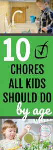 As a mom, you don't have to do all the work in the house. It's GOOD for kids to learn responsibility & life skills by doing chores! Children as young as 2 or 3 can do simply chores, and by the time they are 10 years old, they should be able to do almost everything you can. It's easy if you keep these tips in mind! They'll even think it's fun. | list of daily chores for kids, parenting tips