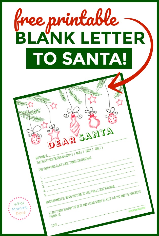 "This is such a fun idea for kids! A free printable blank letter to santa template you can use to write a letter to him. Use it as a ""wishlist"" so your kids can tell you exactly what they want! :)"