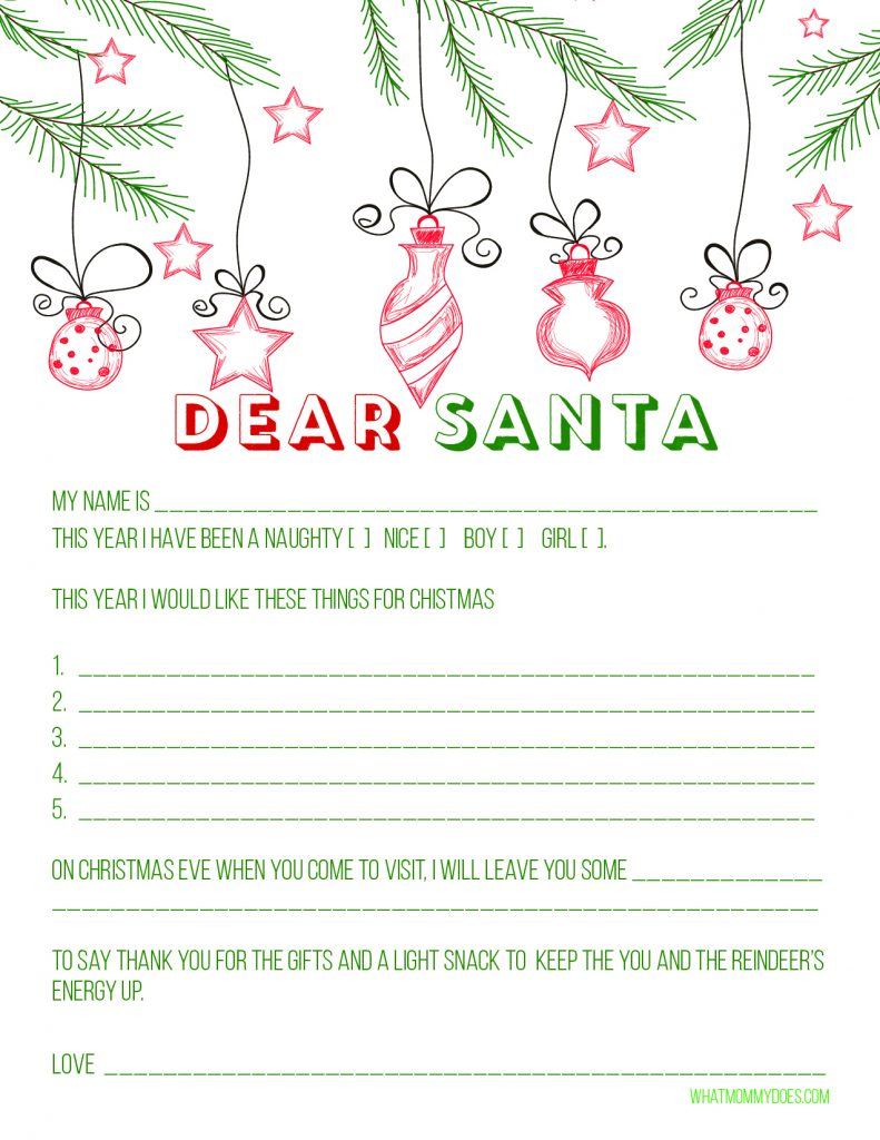 Blank Letter to Santa Template {Free Printable!} - What