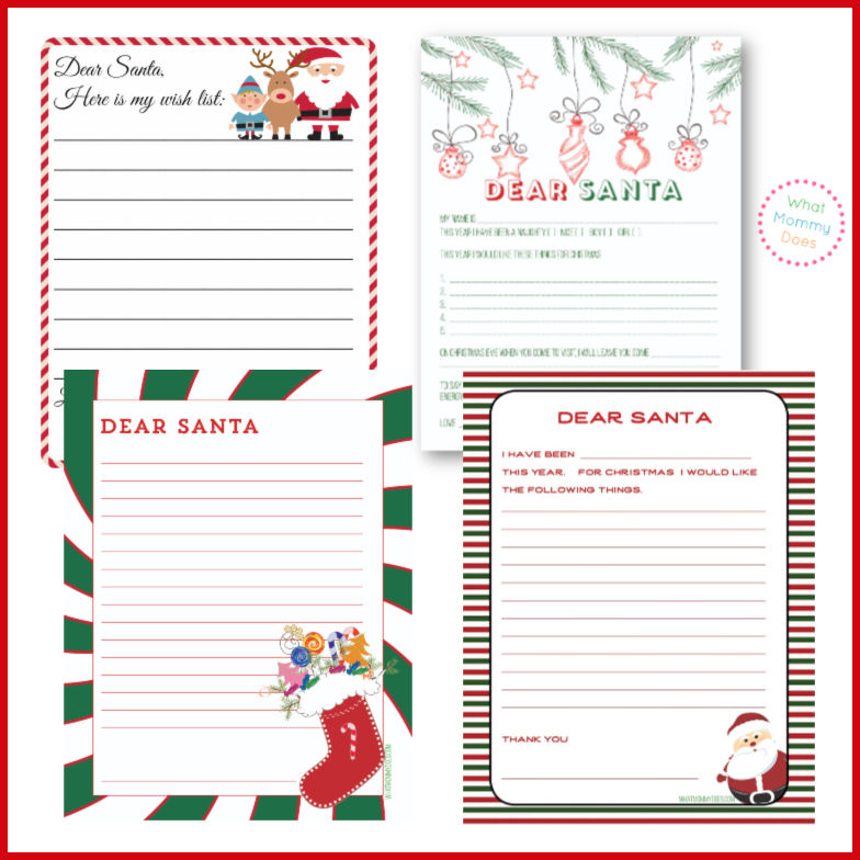 4 different letters to santa - red, green colors