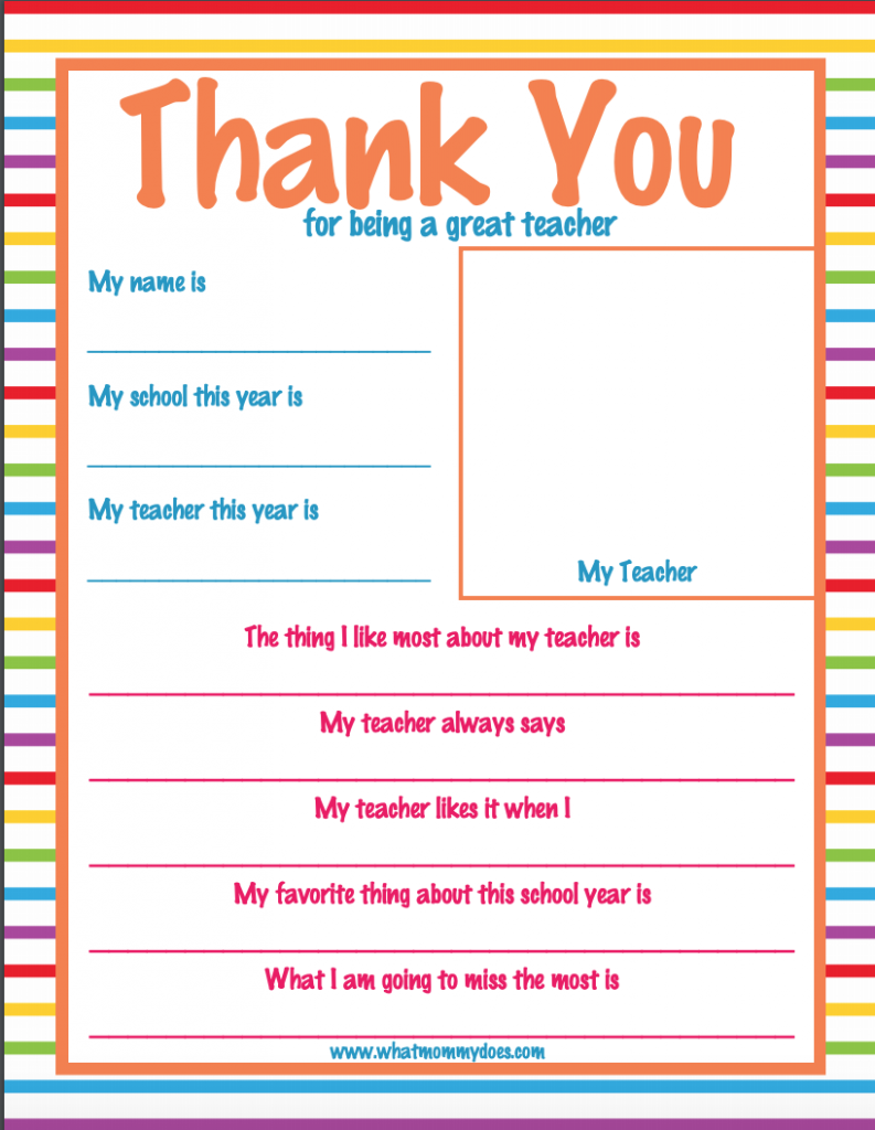 photograph regarding Thank You Teacher Free Printable referred to as Trainer Appreciation 7 days Thank By yourself Letter - Tremendous Lovable