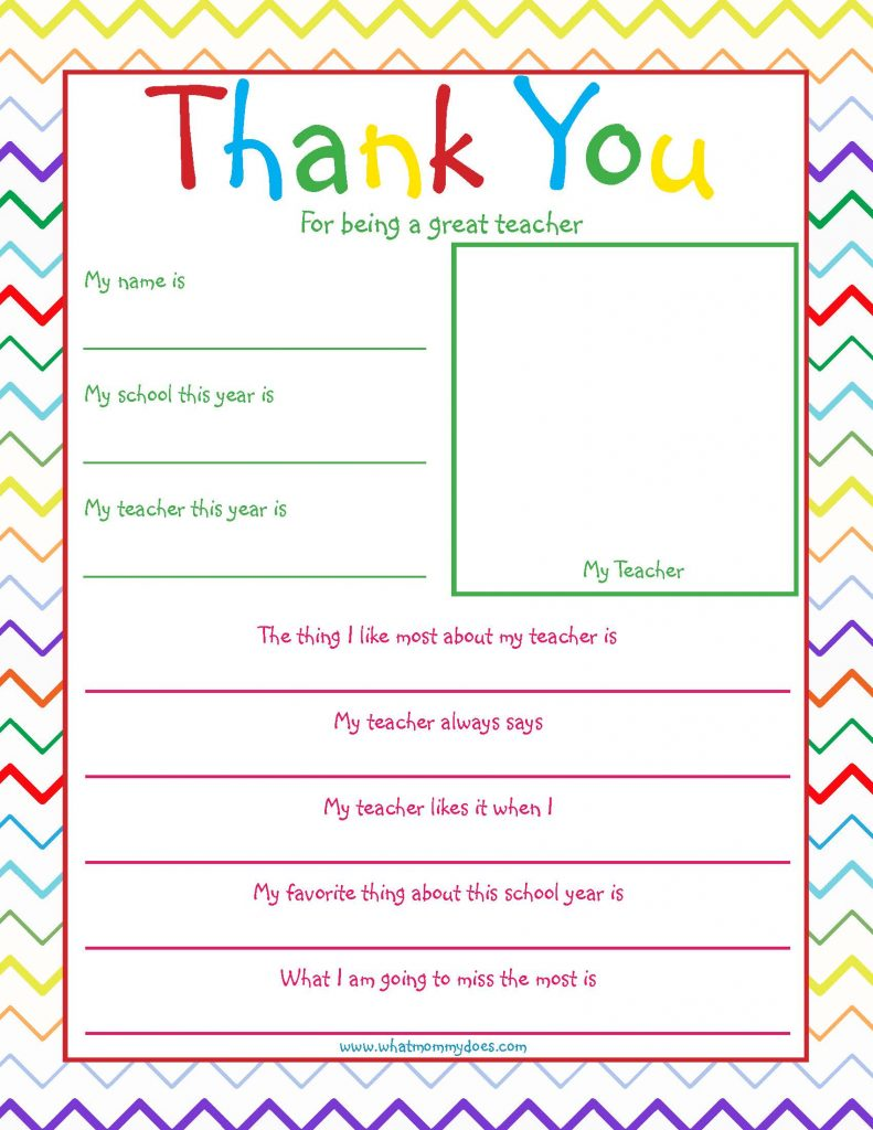 Free Printable Teacher Thank you Note - What Mommy Does