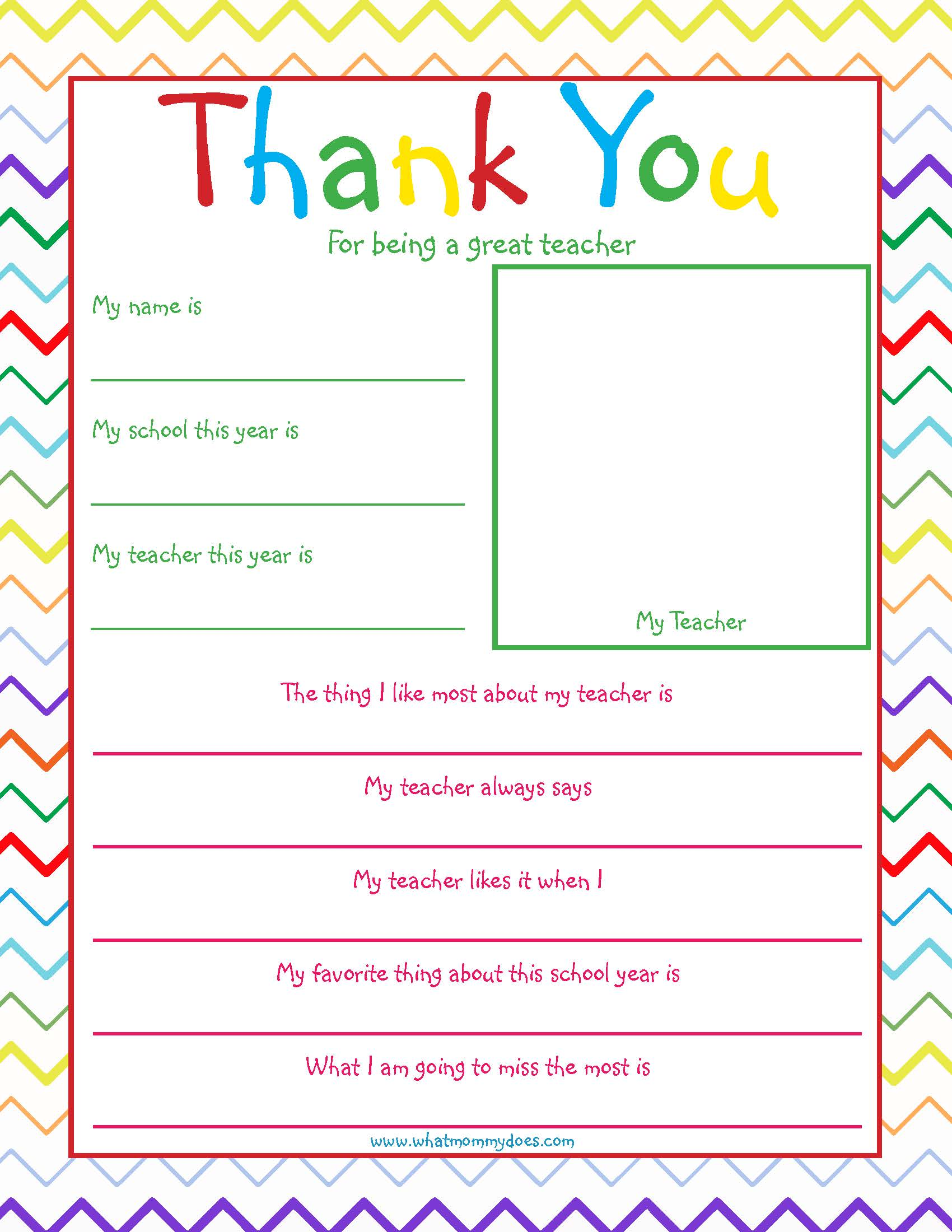 Free Printable Teacher Thank you Note {so cute!} - What Mommy Does