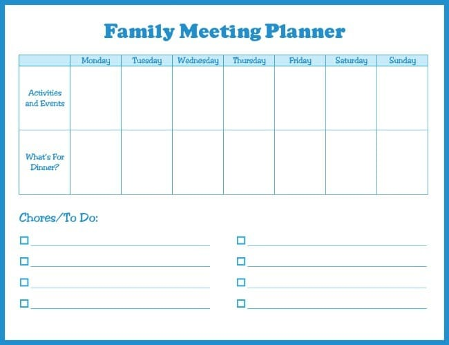 Family meeting planner! Hopefully this free printable calendar will help keep us all organize.