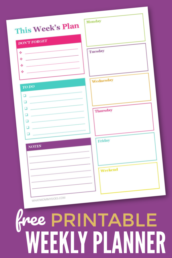 FREE WEEKLY PLANNER TEMPLATE! This free printable calendar page is perfect for planning your busy weeks! You can block out time to do the things you want, prioritize your to do list, and make daily plans to keep on track.