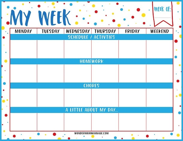 Free printable calendar for kids! I definitely need to get my kids on a schedule and this one page planner overview would definitely help.