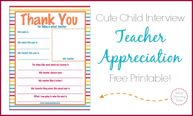 cute teacher appreciation week printables - inexpensive letter idea for a child to write