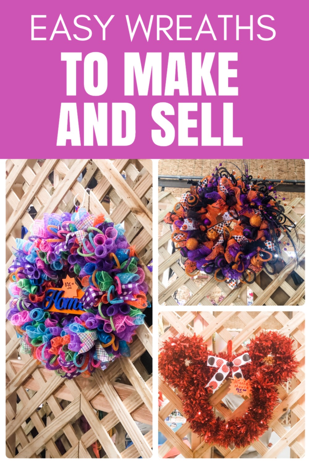 Here are some beautiful WREATHS you can sell for extra cash at flea markets, craft fairs, on Etsy or Amazon Handmade!