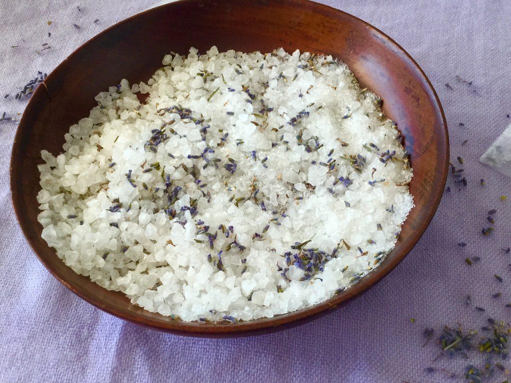 Lavendar bath salts - easy to make craft for kids.
