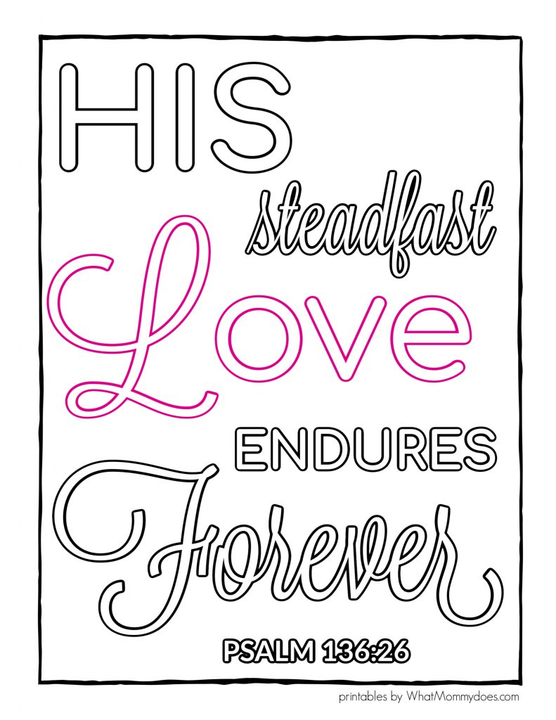Psalm 136 coloring sheet to print out