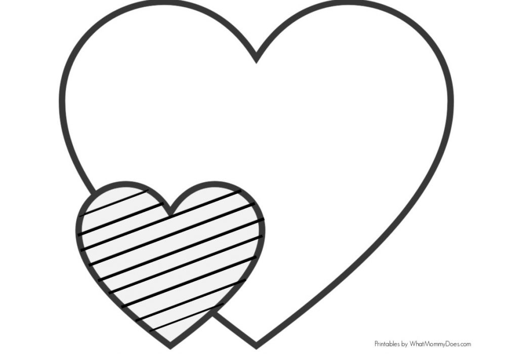Easy Heart Coloring Pages for Kids {Stripe Patterns!}