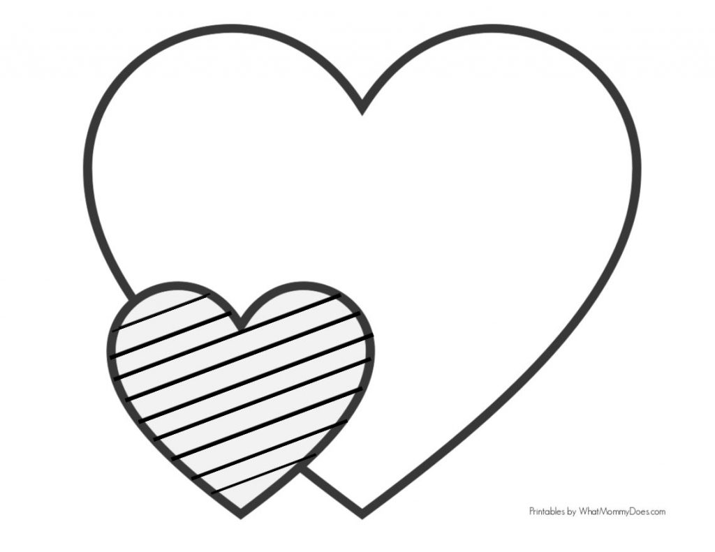two heart pattern - one huge and one small with diagonal stripes