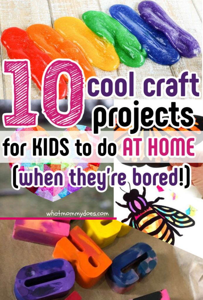 picture collage of cool kids craft projects - rainbow slime, melted crayons, butterfly suncatchers
