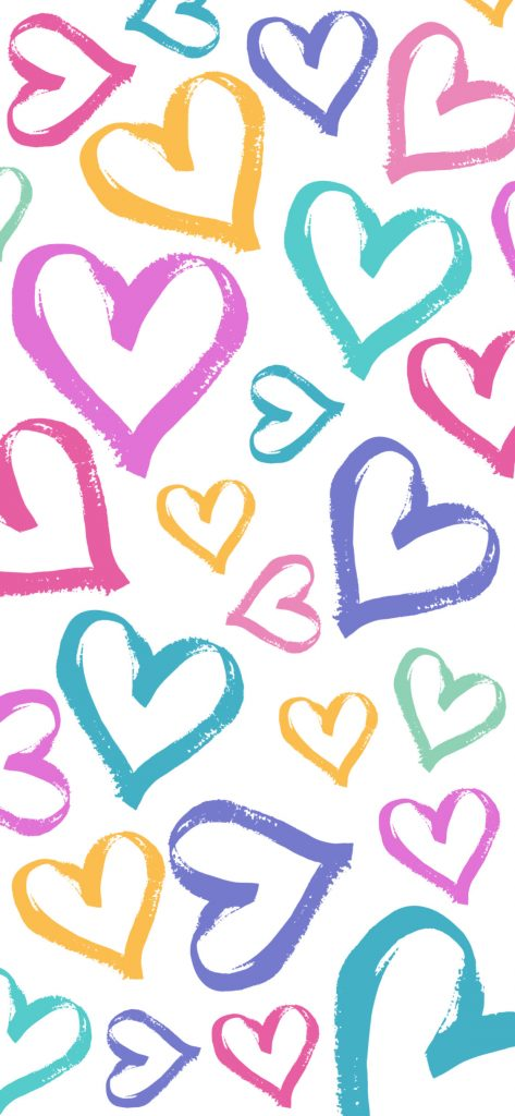 iPhone wallpaper background in pastel rainbow heart pattern