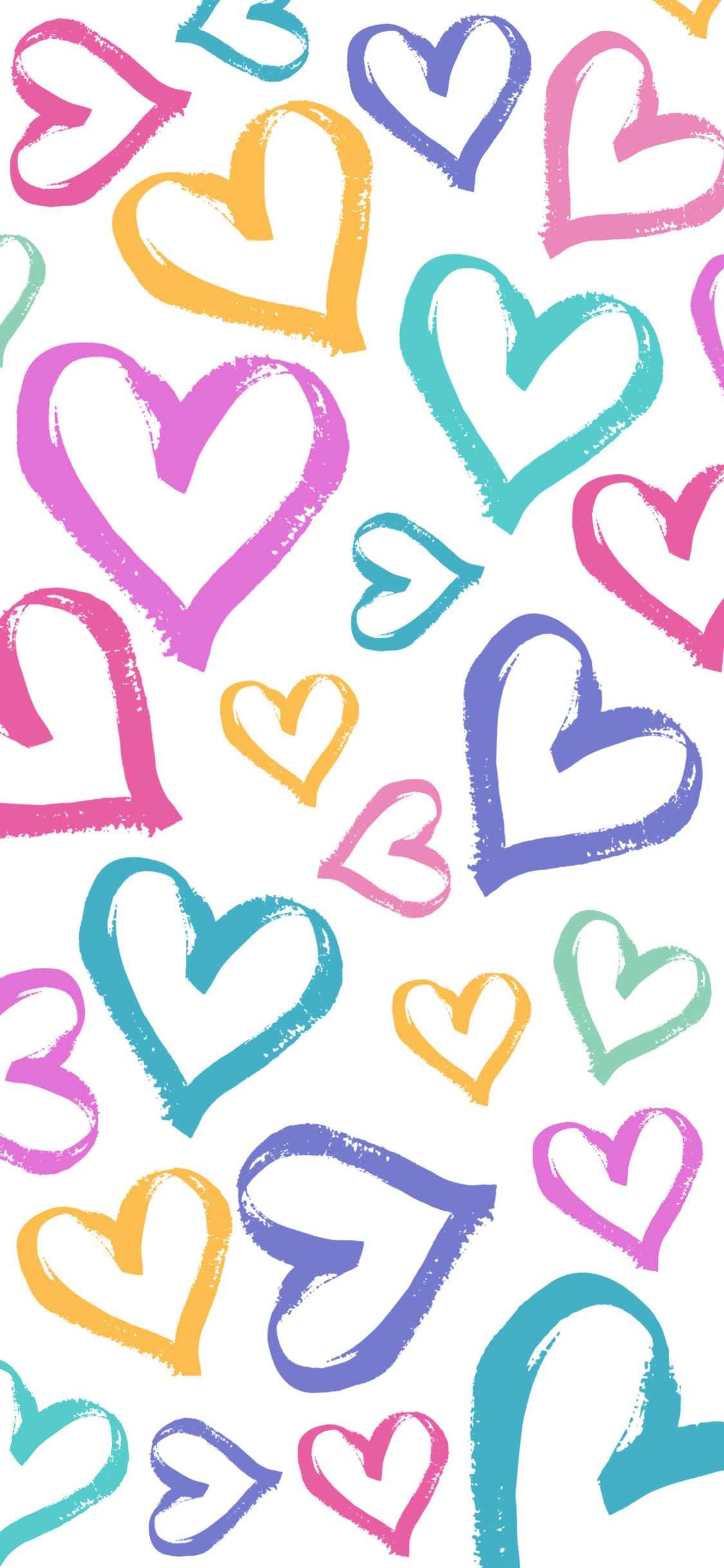 iPhone wallpaper hearts pastel rainbow