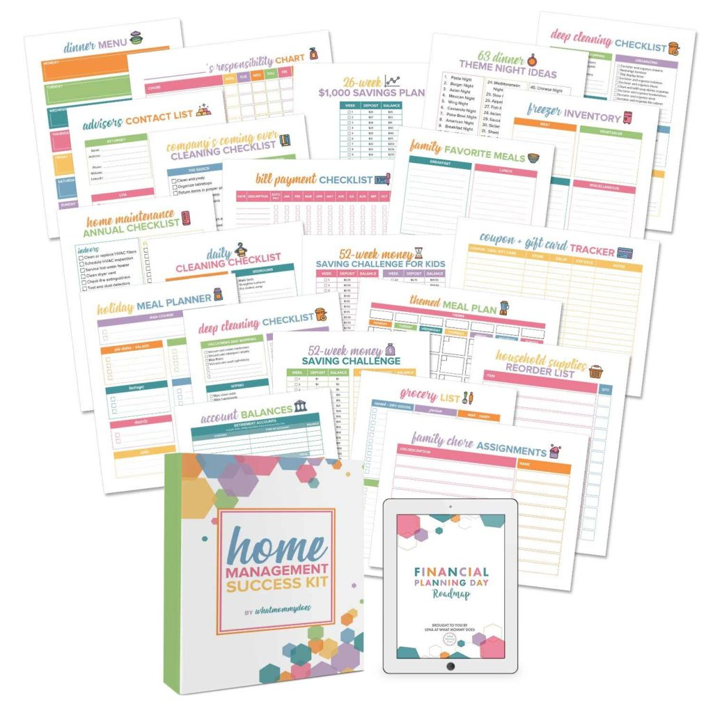 homemaking worksheet bundle for new moms to keep house