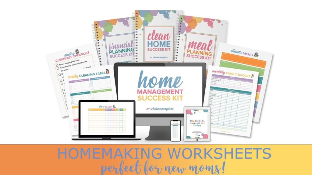 homemaking worksheets for first time expectant moms + dads - daily, weekly, and monthly checklists