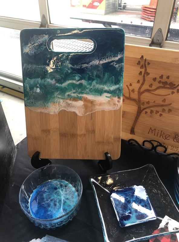 Resin Beachy Waves Cutting Board