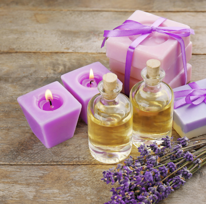 Lavender essential oil candles and soaps.
