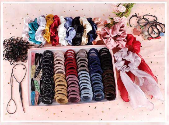 kit full of hair ties for a little girl's gift