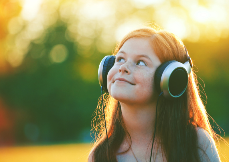 little girl listening to music that was a non toy gift