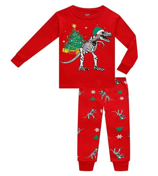 dinosaur Christmas pajamas for a little kid