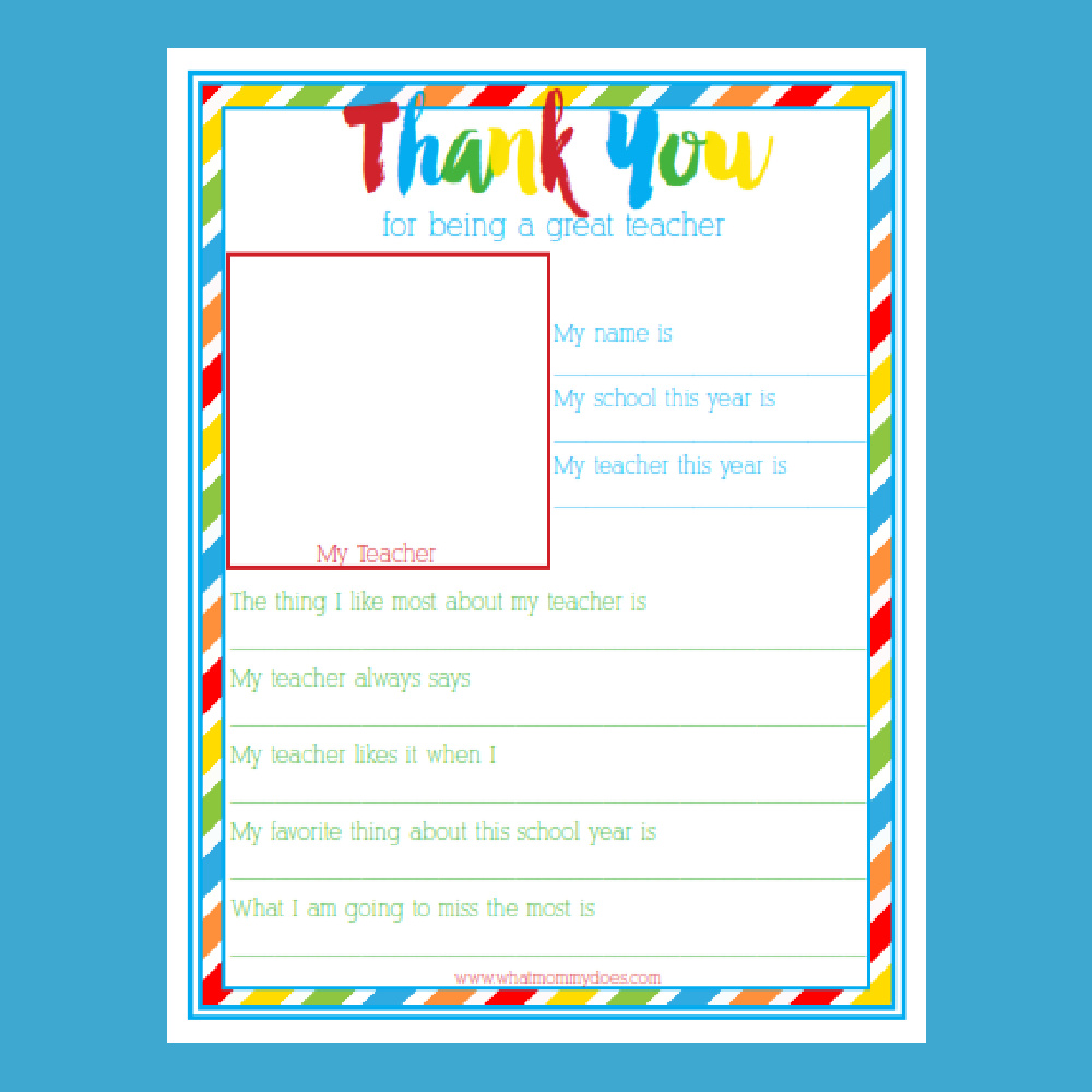 Teacher Appreciation Week Thank You Letter - Super Cute! - What Within Thank You Card For Teacher Template