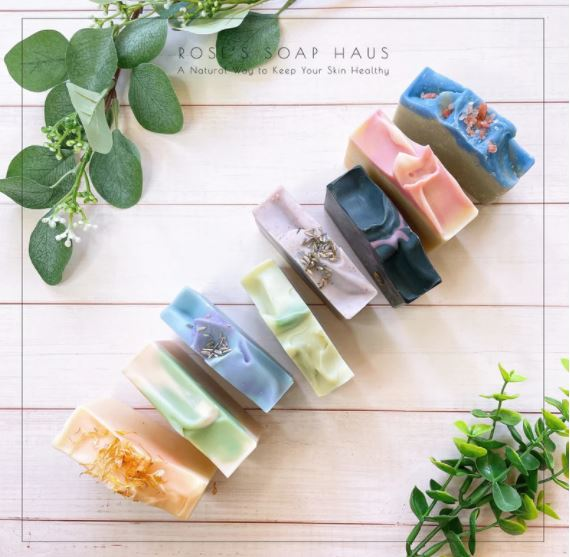 Handmade soap in multiple colors for a gift